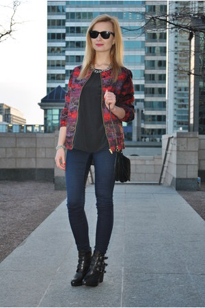 Topshop jacket - Topshop boots - whistles top