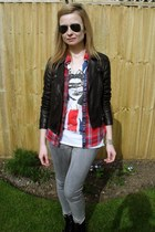 heather gray Topshop jeans - black Oasis jacket