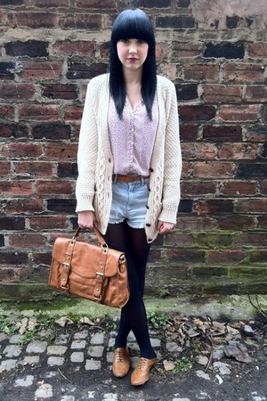 Topshop bag - Urban Outfitters blouse - Urban Outfitters cardigan - Topshop shor