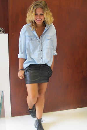 blue acne shirt - H&M skirt - vintage from Ebay shoes