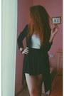 Black-vintage-coat-crop-top-white-h-m-top-cotton-yesfor-skirt