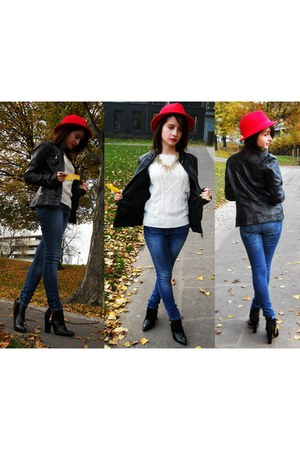 red H&M hat - black leather suede Zara shoes - navy denim Zara jeans