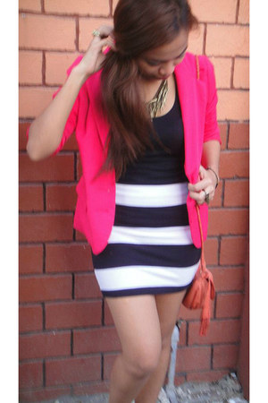 H&M blazer - Topshop bag - bandage H&M skirt - Forever 21 top - accessories