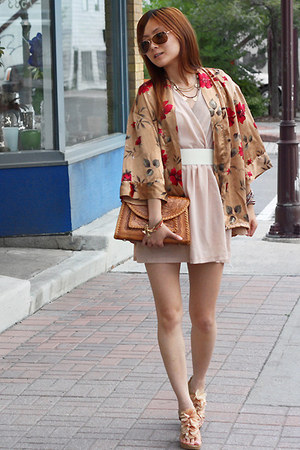 tan DIY cardigan - light pink dress - bronze vintage bag