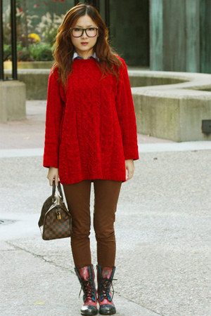salmon cosmic print DIY shoes - red vintage sweater - brown Zara pants