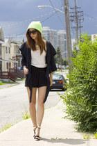 green asos hat - white Zara top - black free people heels