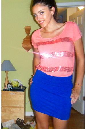 blue Forever 21 skirt - pink H&M shirt