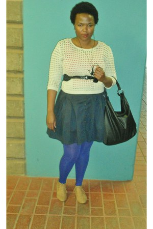 tights - shoes - bag - jumper - skirt