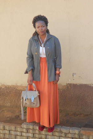 orange rage skirt - military style jacket - white Zara vest