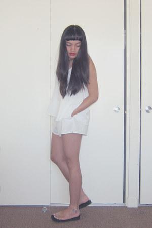 white chiffon romwe shorts - white chiffon swing Forever 21 top