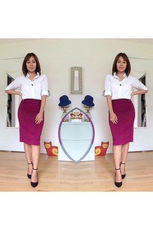 magenta pencil skirt George skirt - white Michael James shirt