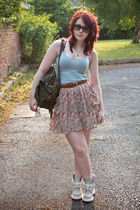 blue asos vest - brown asos belt - green Topshop accessories - pink asos skirt -