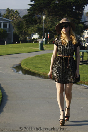 skater Forever 21 dress - scalloped American Rag hat - Steve Madden heels
