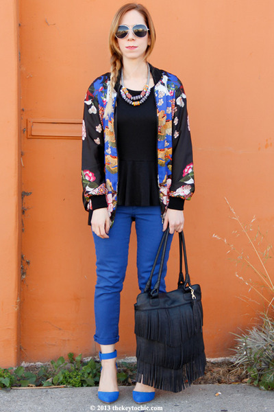 blue Joe Fresh jeans - printed Zara jacket - Zara necklace