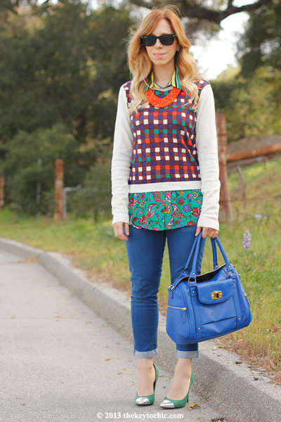plaid Duro Olowu for JCP sweater - merona bag