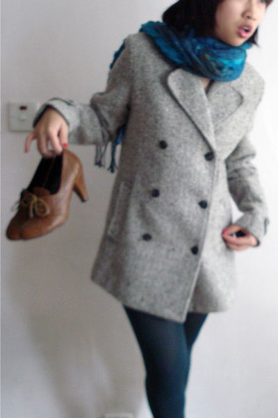 gray blazer - blue scarf - green stockings - brown shoes