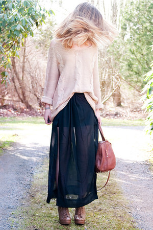 transparent unknown skirt - unknown sweater - studded Joy bag