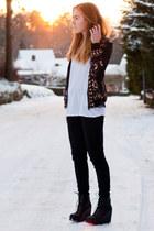 wild wolves romwe jacket - acne jeans - white Zara t-shirt