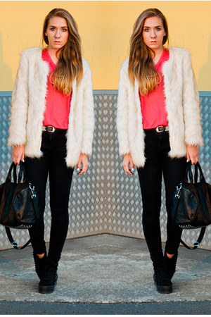 faux fur Choies coat - homg stud Jeffrey Campbell shoes - black denim acne jeans