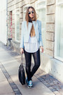 Light-blue-zara-jacket-black-falabella-stella-mccartney-bag