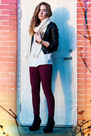 burgundy Criminal Damage jeans - leatherette H&M jacket