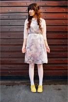 light pink suede thrifted vintage dress