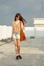 light blue diy ombre jeans shorts - beige sheer shirt - tawny fringe bag