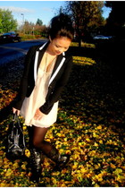 black Express blazer - beige mix noveau top - black Nine West purse - black onli