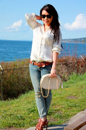 white H&amp;M shirt - beige vintage purse - brown vintage belt - brown Steve Madden 