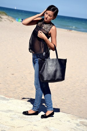 black Primark top - BLANCO jeans - black Primark loafers