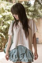 light blue bow romwe shorts - white boho no brand shirt