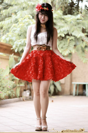 rose Bubbles skirt - lace Wild Doll top - collar ShopOjewels necklace