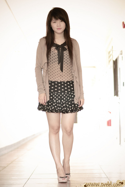 tan draped kashieca cardigan - black polka dots AHAISHOPPING skirt
