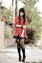 black ballerina romwe tights - black lace romwe bracelet - red collar romwe top
