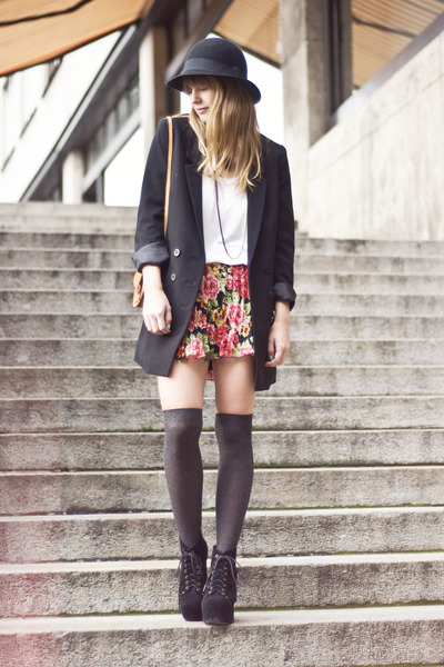 litas Jeffrey Campbell heels - H&amp;M hat - H&amp;M blazer - bag - H&amp;M t-shirt