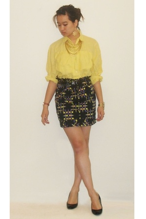 button down top - minkpink via macys skirt - monet necklace - shoes - JLo earrin