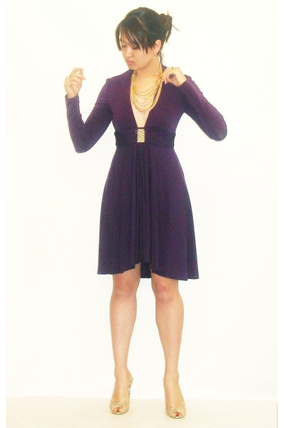 gold cutout style&co shoes - purple plunge neckline Trina Turk dress
