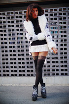 white cecil mcbee sweater - black Jeffrey Campbell boots - nude tights