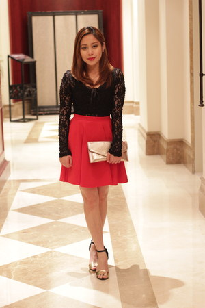 lace blouse - red skater new look skirt - ankle strap sandals