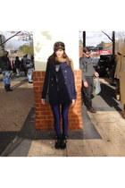 blue American Apparel leggings - black Topshop boots - navy Forever 21 coat