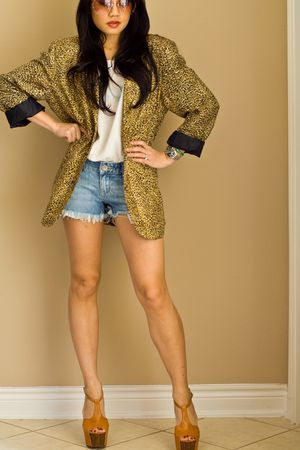 gold Anna & Frank blazer - brown Jessica Simpson shoes