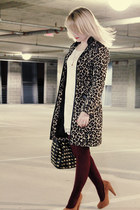 off white lace H&M dress - tan leopard H&M coat - maroon We Love Colors tights -