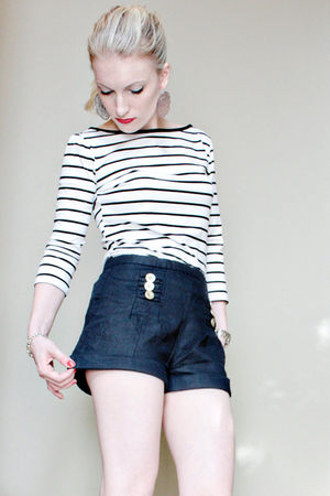 white Forever 21 shirt - blue Forever 21 shorts