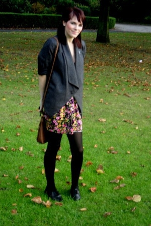 gray Primark blazer - black Primark dress - black Primark shoes - H&M tights
