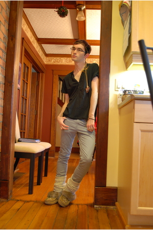 gray H&M pants - gold Aldo accessories - brown SoftMocs shoes