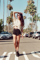gray high waisted Topshop shorts - black studded Macys shoes