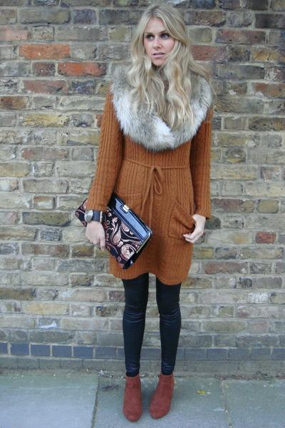 tan H&M boots - black H&M leggings - burnt orange H&M jumper