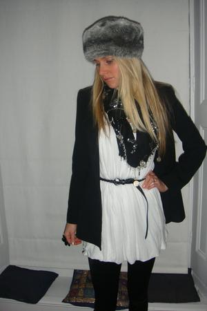 black Zara blazer - Topshop leggings - T k maxx top - River Island scarf - Prima