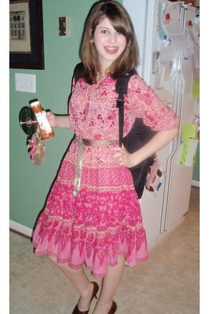 pink dress - brown shoes - brown Old Navy kids belt - black accessories