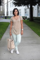 mint green Zara jeans - tan Zara t-shirt